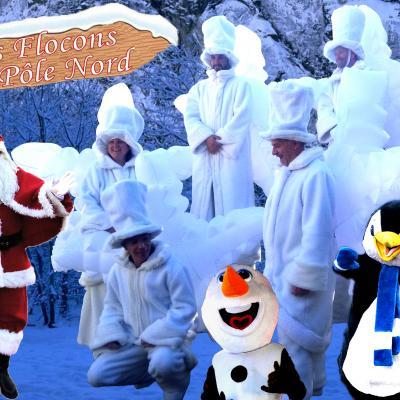 Les flocons + Père Noel + Pingou